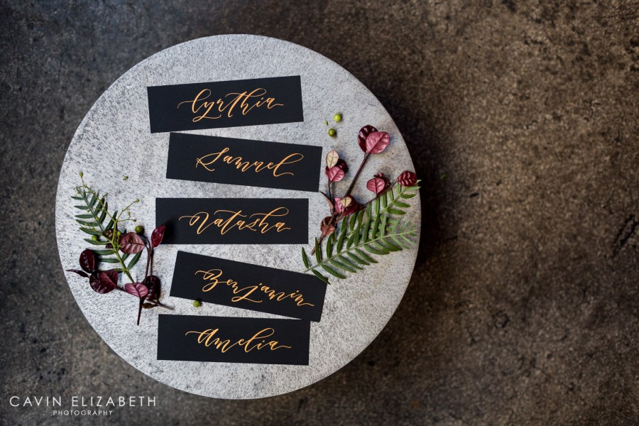 Twinkle and Toast black name place cards with copper calligraphy