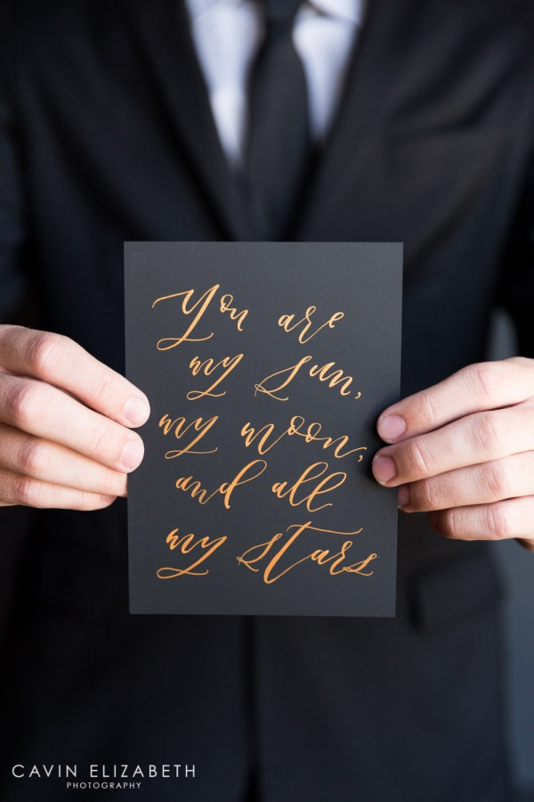 You are my sun my moon and all my stars copper calligraphy on black paper for a dark and moody wedding
