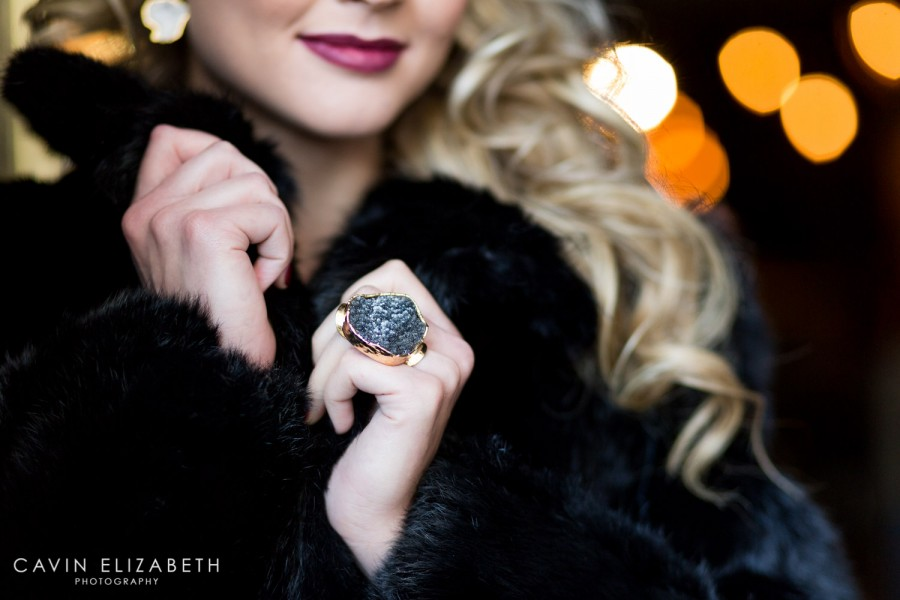 Black druzy ring in gold by Love Tatum
